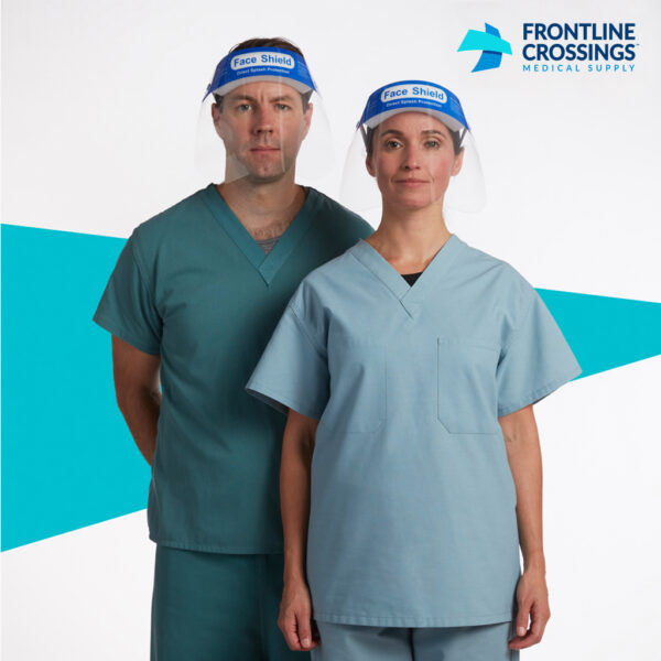 man and woman wearing face shield