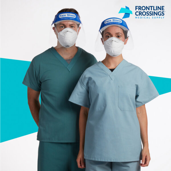 man and woman wearing face shield with mask