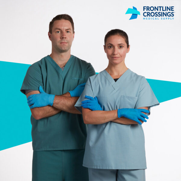 man and woman wearing nitrile gloves