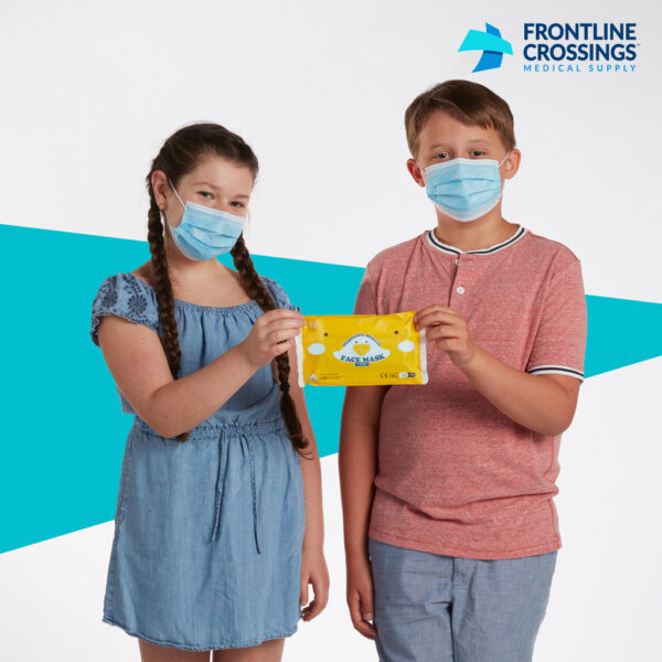 boy and girl holding masks in packaging