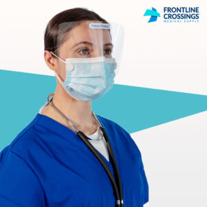 woman wearing mask with built in face shield
