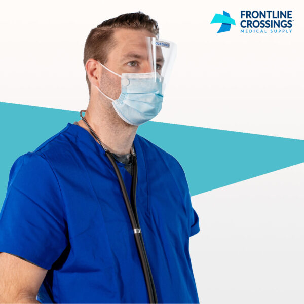 man wearing mask with built in face shield